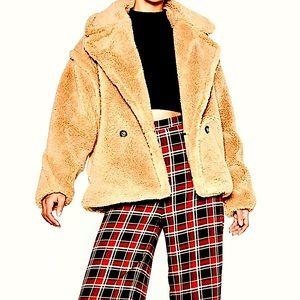 🦄HP🦄 Nasty Gal faux fur teddy bear coat blush L